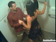 Blowjob with final in toilet nightclub on hidden camera